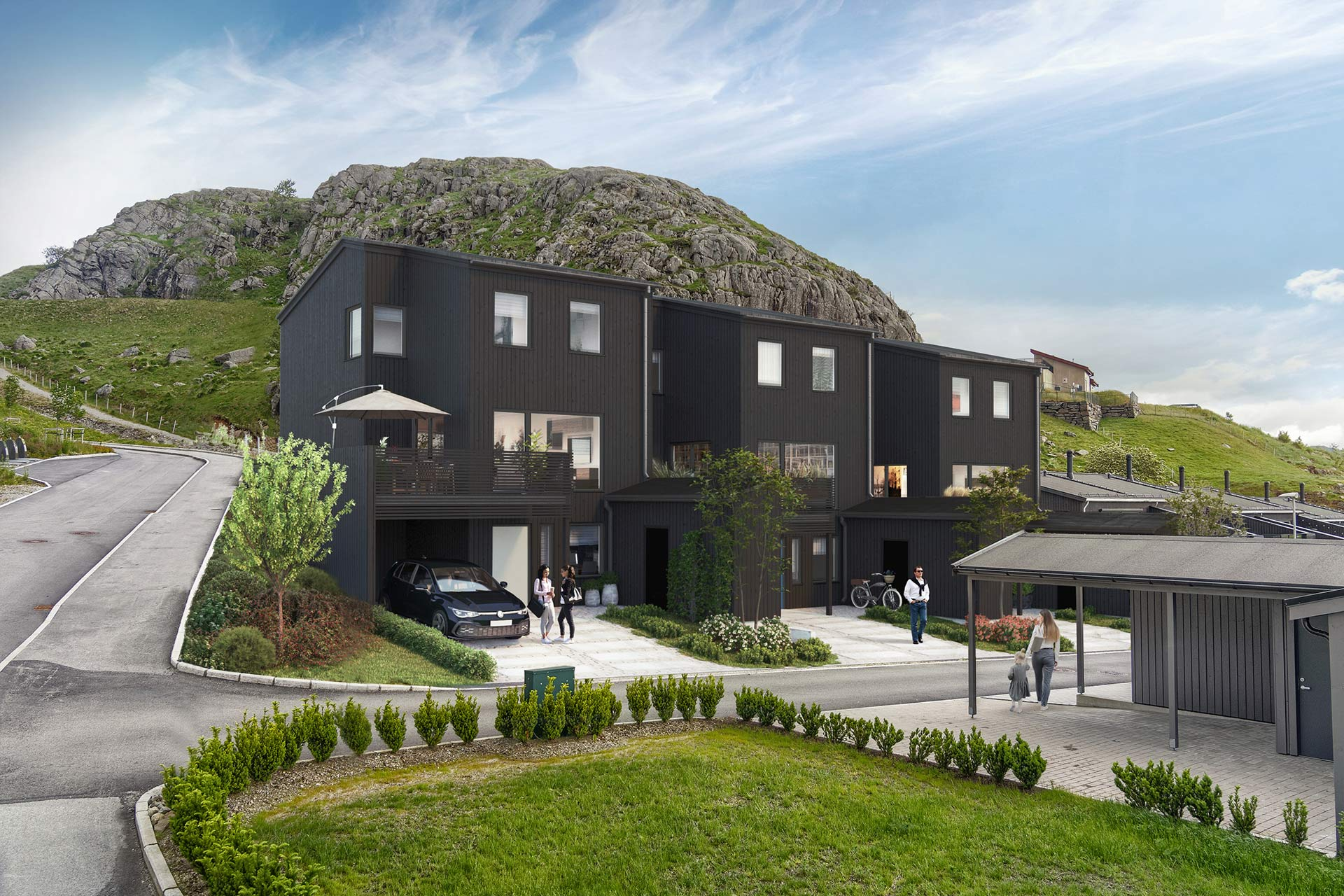 3D-illustrasjon av 3 boliger i Konvallveien sett fra vei